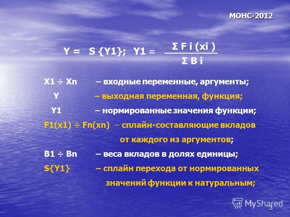 3 МОНС-2012 Х1 ÷ Хn – входные переменные, аргументы; Y – выходная переменная, функция; Y1 – нормированные значения функции; F1(x1) ÷ Fn(xn) – сплайн-составляющие вкладов от каждого из аргументов; B1 ÷ Bn – веса вкладов в долях единицы; S{Y1} – сплайн