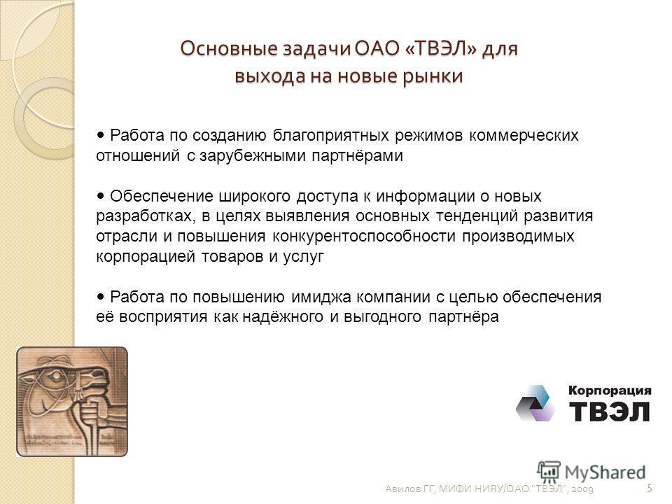 Основные задачи ОАО « ТВЭЛ » для выхода на новые рынки Авилов ГГ, МИФИ НИЯУ / ОАО