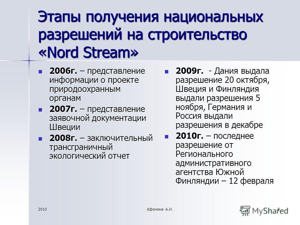 2010Афонина А.И.8 Этапы получения национальных разрешений на строительство «Nord Stream» 2006г. – представление информации о проекте природоохранным органам 2006г. – представление информации о проекте природоохранным органам 2007г. – представление за