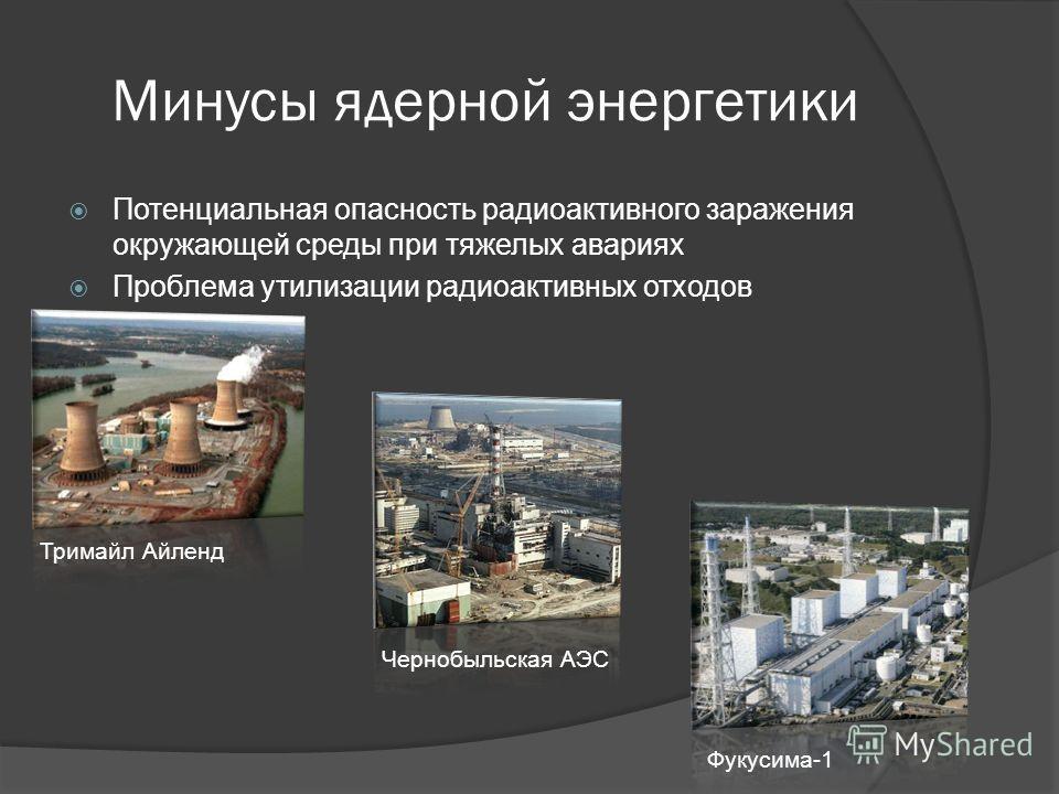 Минусы ядерной энергетики Потенциальная опасность радиоактивного заражения окружающей среды при тяжелых авариях Проблема утилизации радиоактивных отходов Тримайл Айленд Чернобыльская АЭС Фукусима-1