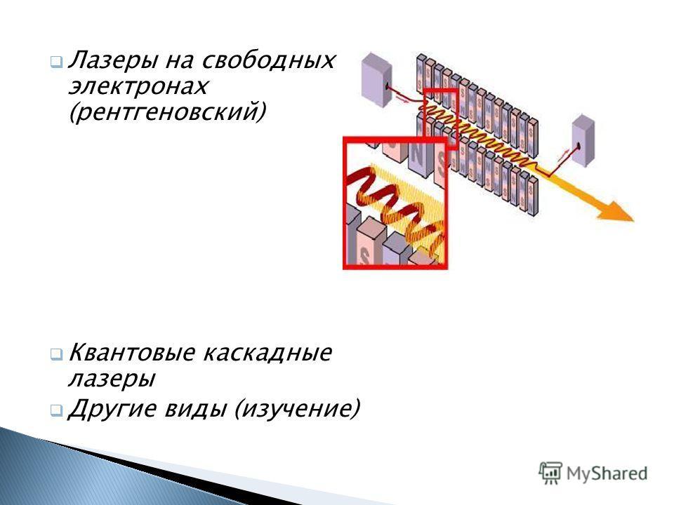 Лазеры на свободных электронах (рентгеновский) Квантовые каскадные лазеры Другие виды (изучение)