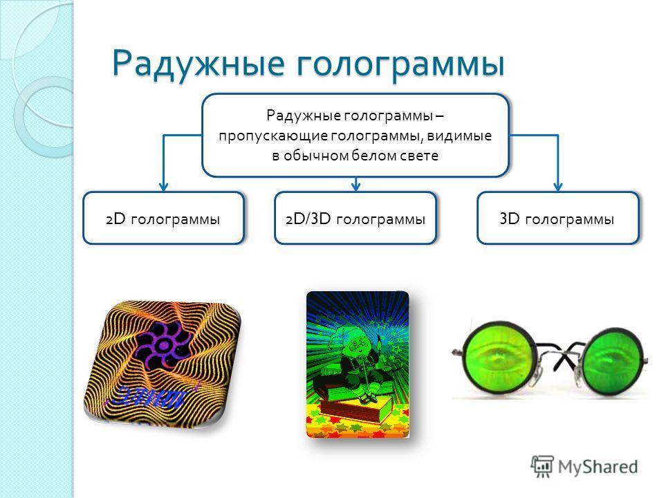Радужные голограммы Радужные голограммы – пропускающие голограммы, видимые в обычном белом свете 2D голограммы 2D/3D голограммы 3D голограммы
