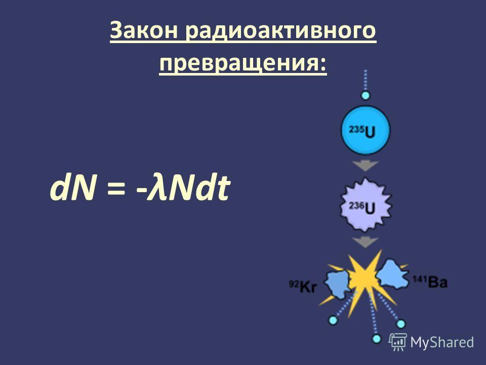 Закон радиоактивного превращения: dN = -λNdt