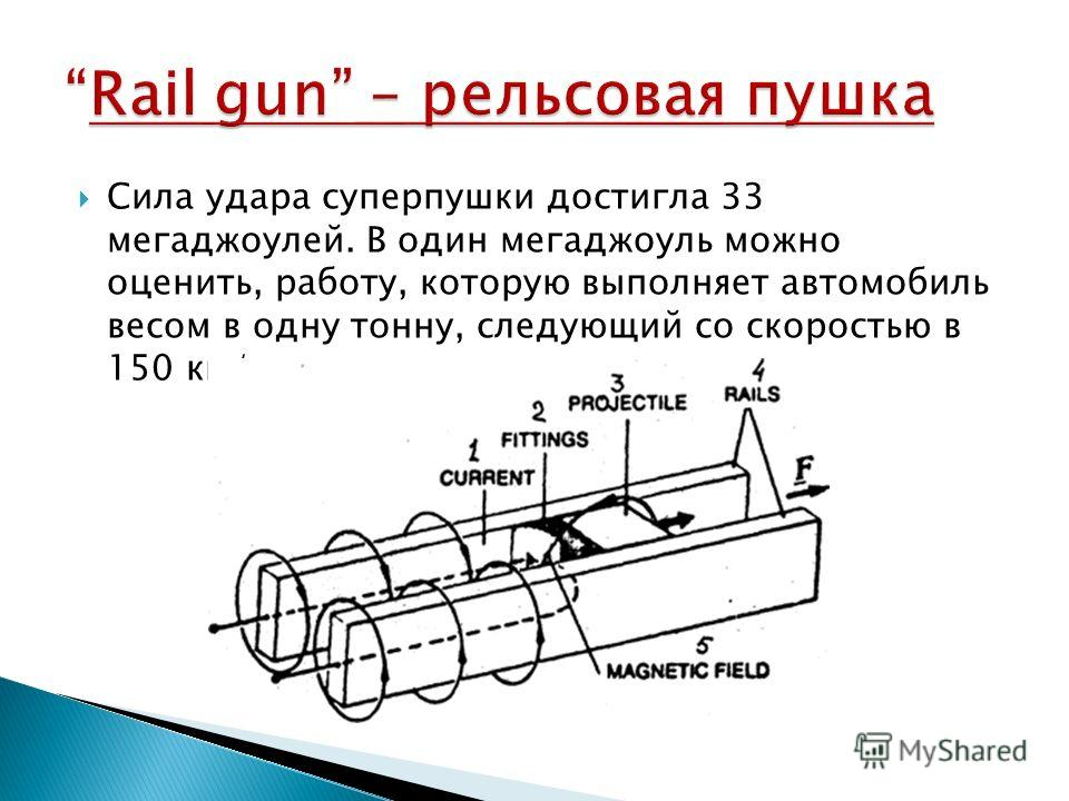 Сила удара суперпушки достигла 33 мегаджоулей. В один мегаджоуль можно оценить, работу, которую выполняет автомобиль весом в одну тонну, следующий со скоростью в 150 км/ч.