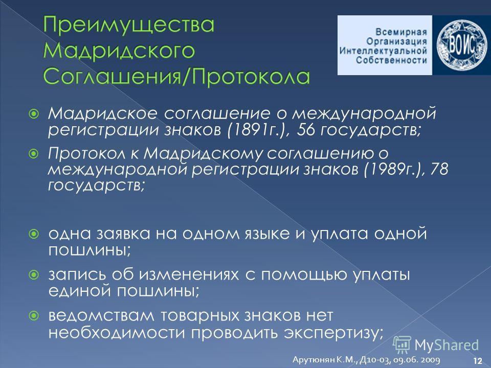 Мадридское соглашение о международной регистрации знаков (1891г.), 56 государств; Протокол к Мадридскому соглашению о международной регистрации знаков (1989г.), 78 государств; одна заявка на одном языке и уплата одной пошлины; запись об изменениях с