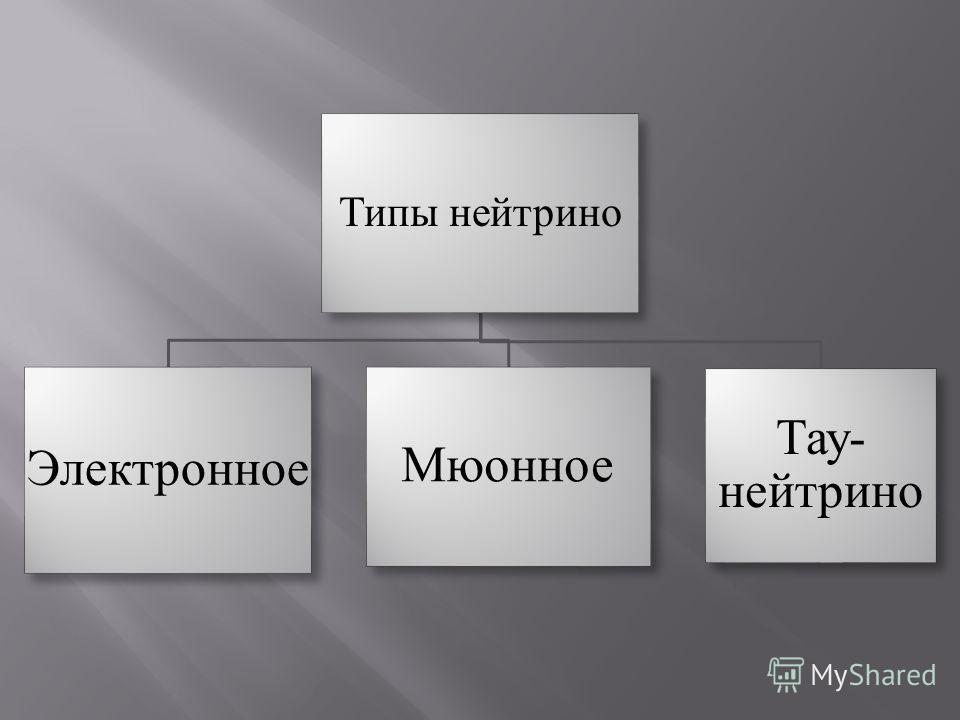 Типы нейтрино Электронное Мюонное Тау- нейтрино