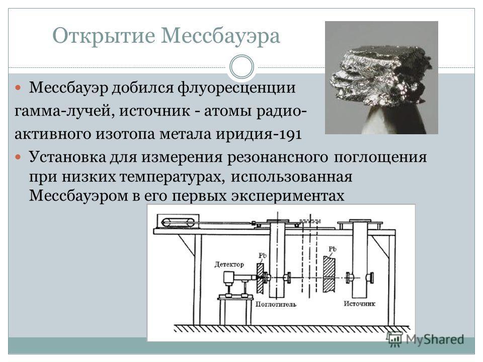 Открытие Мессбауэра Мессбауэр добился флуоресценции гамма-лучей, источник - атомы радио- активного изотопа метала иридия-191 Установка для измерения резонансного поглощения при низких температурах, использованная Мессбауэром в его первых эксперимента