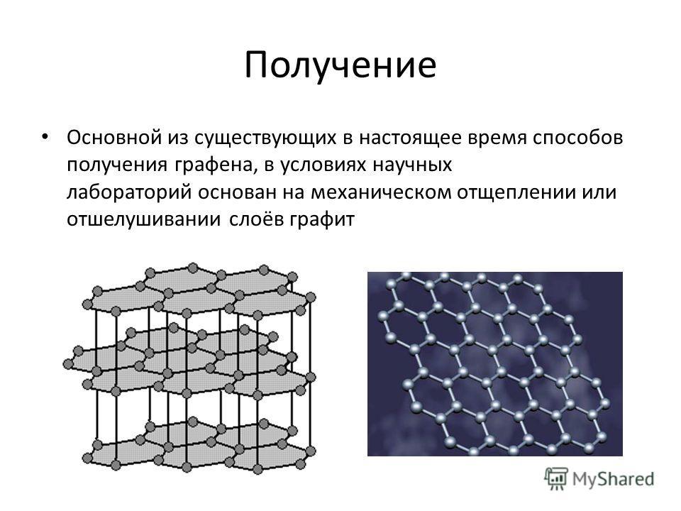 Получение Основной из существующих в настоящее время способов получения графена, в условиях научных лабораторий основан на механическом отщеплении или отшелушивании слоёв графит