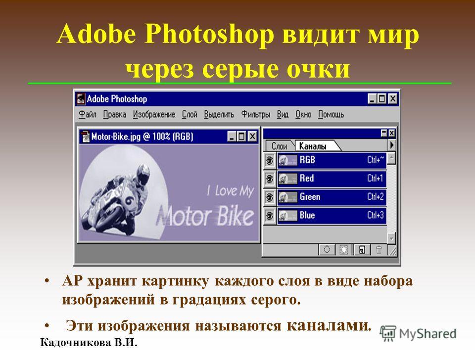 Кадочникова В.И. Adobe Photoshop видит мир через серые очки АР хранит картинку каждого слоя в виде набора изображений в градациях серого. Эти изображения называются каналами.