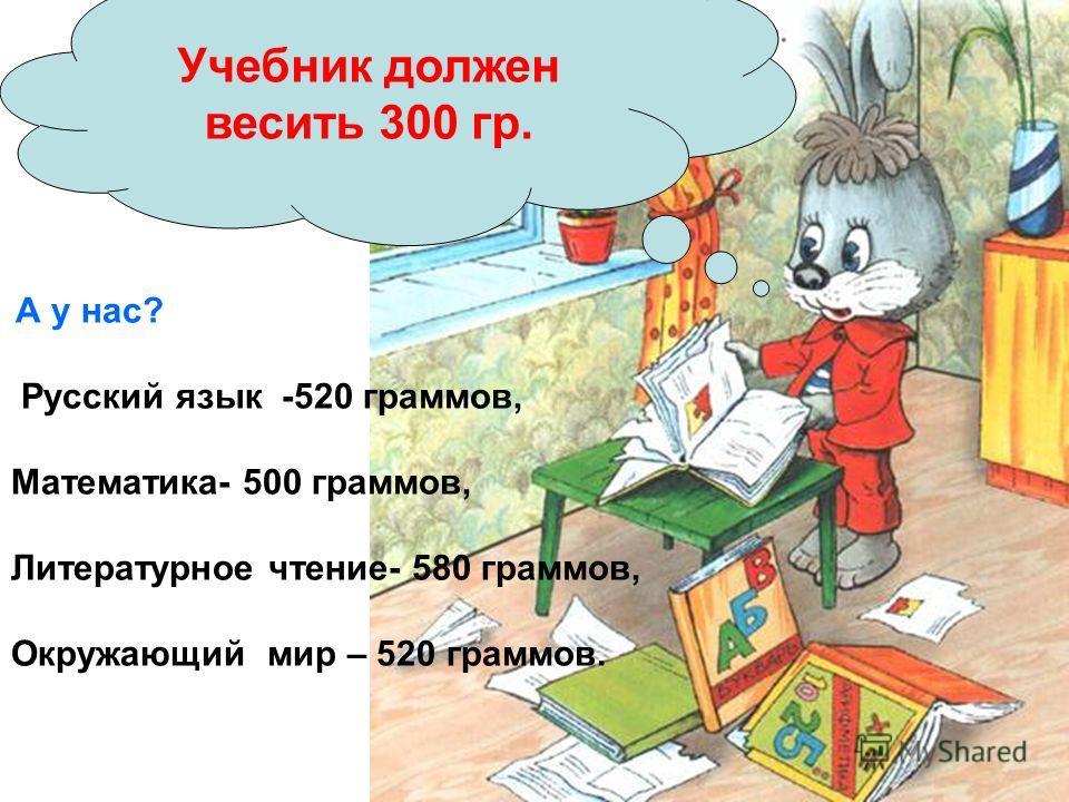 А у нас? Русский язык -520 граммов, Математика- 500 граммов, Литературное чтение- 580 граммов, Окружающий мир – 520 граммов. Учебник должен весить 300 гр.