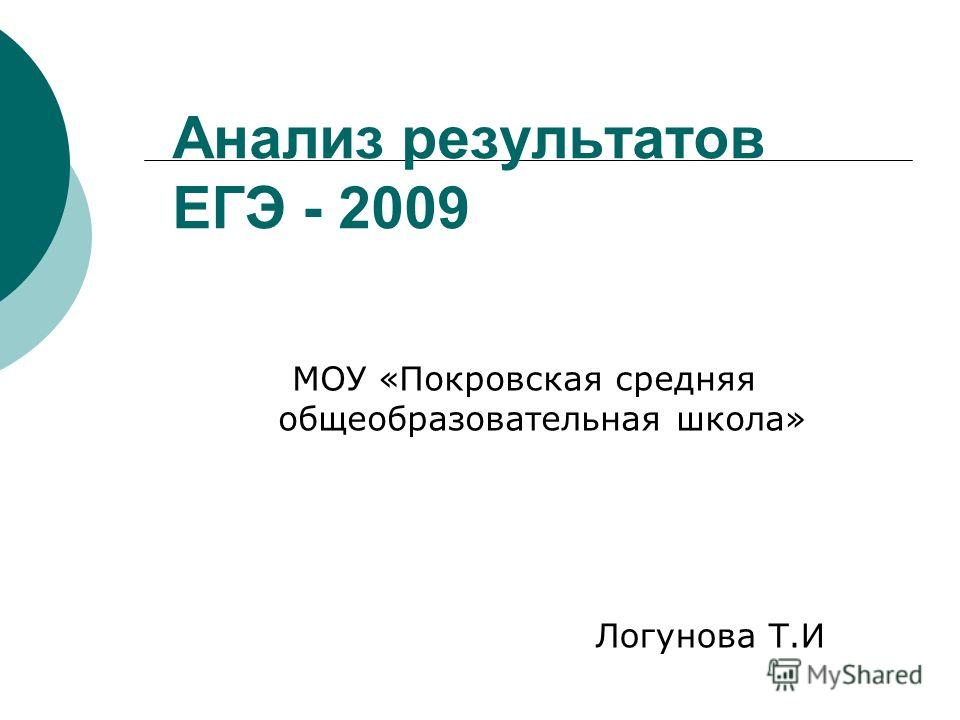 Анализ результатов ЕГЭ - 2009 МОУ «Покровская средняя общеобразовательная школа» Логунова Т.И
