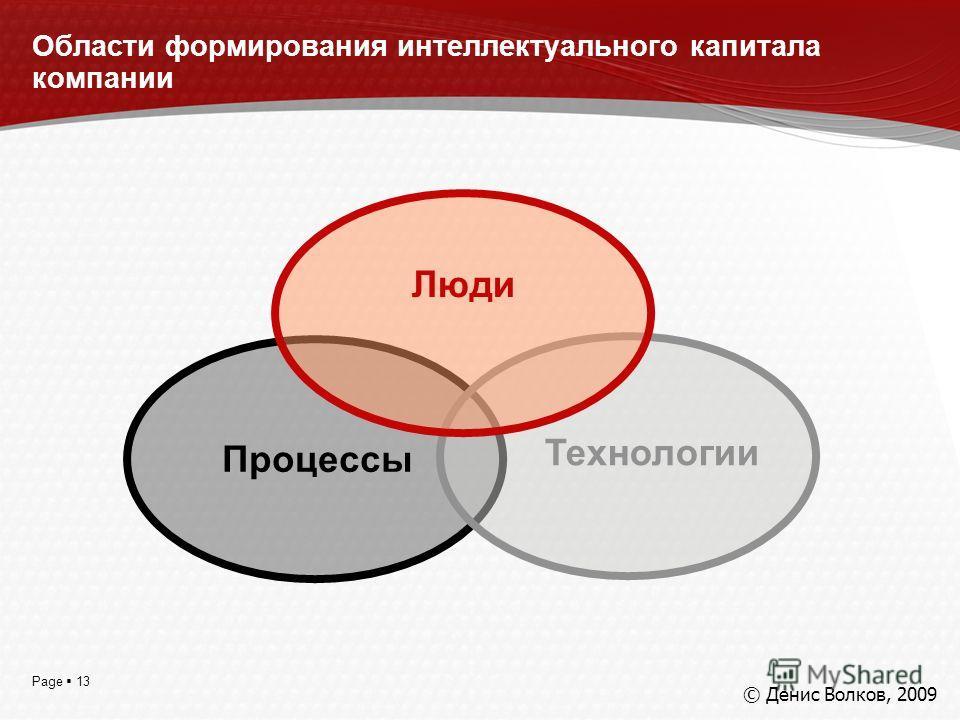 Page 13 Области формирования интеллектуального капитала компании Процессы Технологии Люди © Денис Волков, 2009