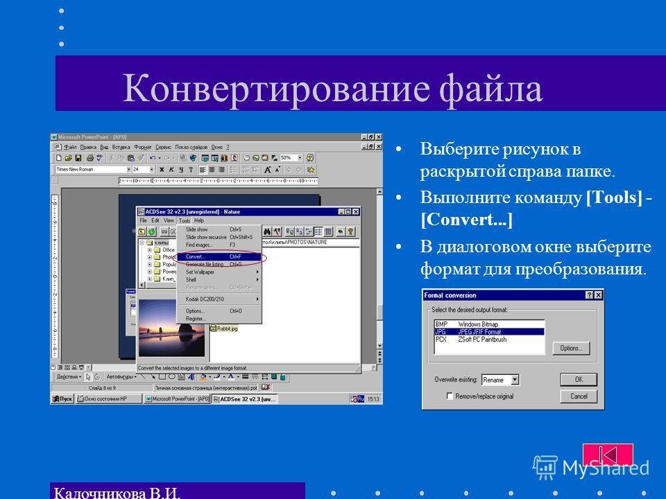 Кадочникова В.И. Конвертирование файла Выберите рисунок в раскрытой справа папке. Выполните команду [Tools] - [Convert...] В диалоговом окне выберите формат для преобразования.