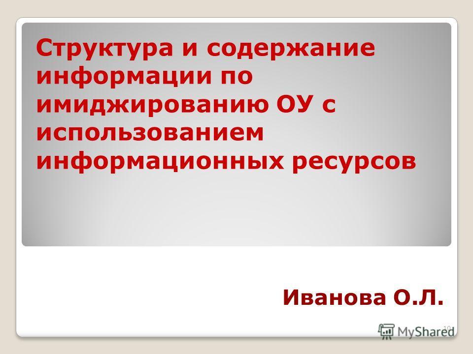 10 Иванова О.Л. Структура и содержание информации по имиджированию ОУ с использованием информационных ресурсов