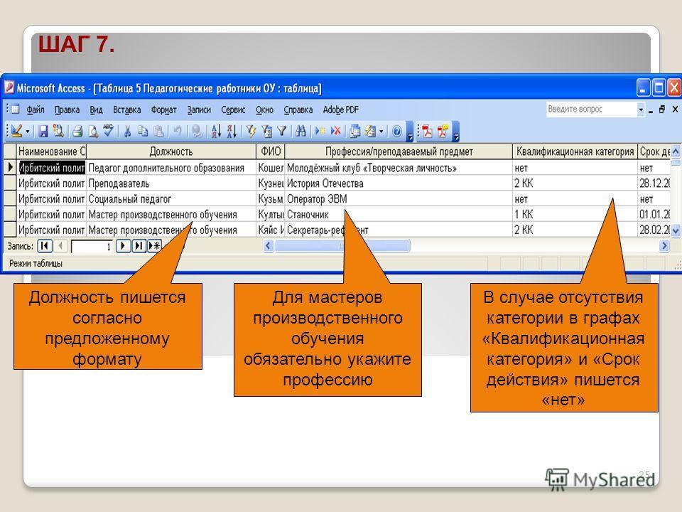 25 ШАГ 7. Должность пишется согласно предложенному формату Для мастеров производственного обучения обязательно укажите профессию В случае отсутствия категории в графах «Квалификационная категория» и «Срок действия» пишется «нет»