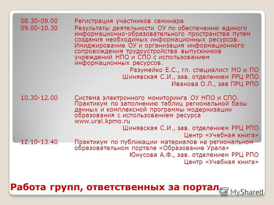 3 Работа групп, ответственных за портал 08.30-09.00Регистрация участников семинара 09.00-10.30Результаты деятельности ОУ по обеспечению единого информационно-образовательного пространства путем создания необходимых информационных ресурсов. Имиджирова