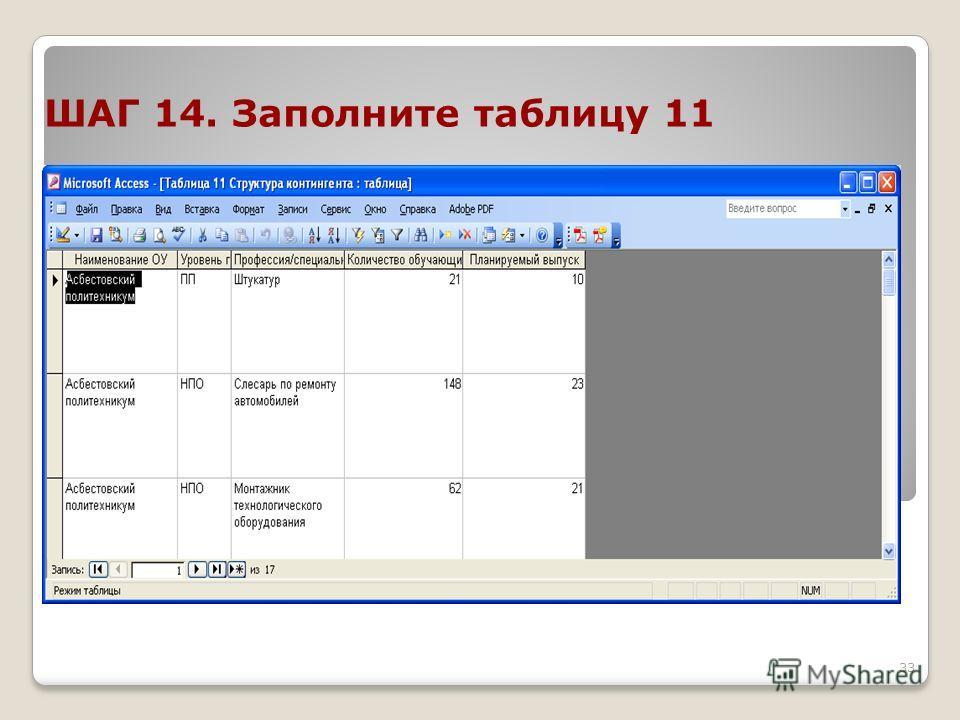 33 ШАГ 14. Заполните таблицу 11