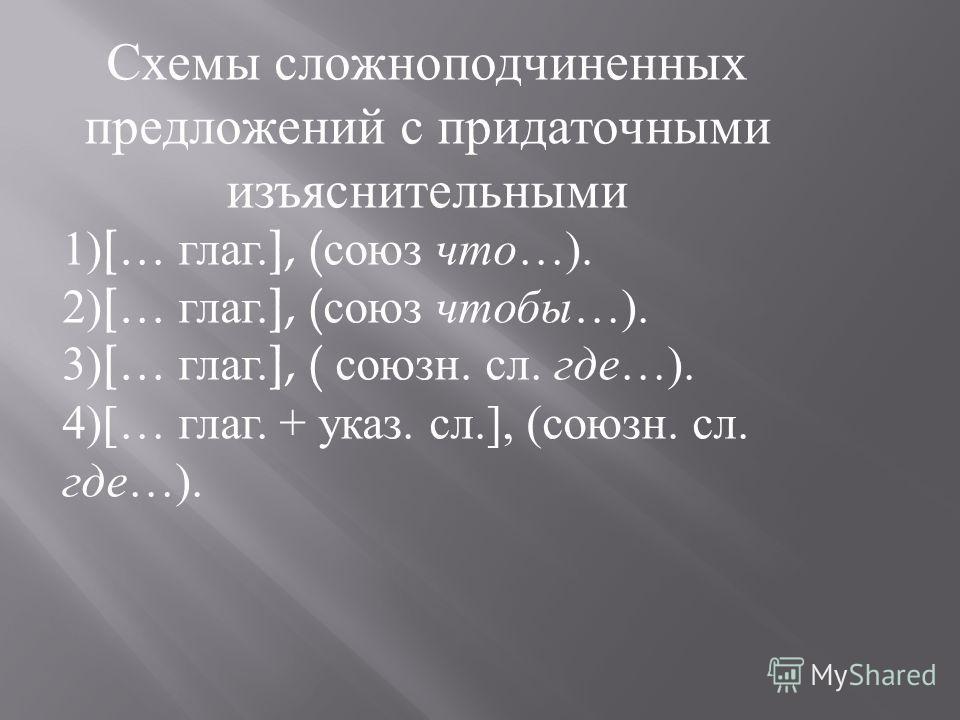Схемы сложноподчиненных предложений с придаточными изъяснительными 1) [… глаг. ], ( союз что…). 2) [… глаг. ], ( союз чтобы…). 3) [… глаг. ], ( союзн. сл. где…). 4)[… глаг. + указ. сл.], (союзн. сл. где…).