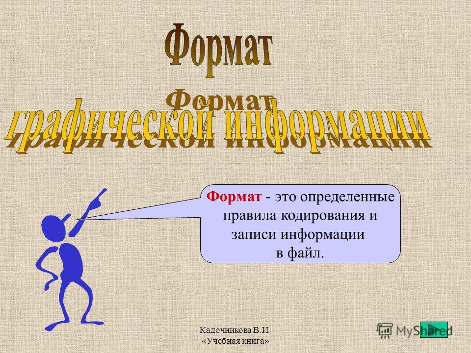 Кадочникова В.И. «Учебная книга» Формат - это определенные правила кодирования и записи информации в файл.