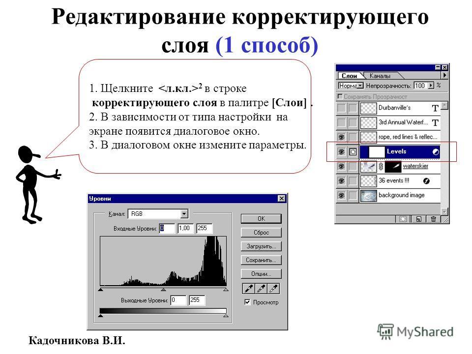 Кадочникова В.И. Редактирование корректирующего слоя (1 способ) 1. Щелкните 2 в строке корректирующего слоя в палитре [Слои]. 2. В зависимости от типа настройки на экране появится диалоговое окно. 3. В диалоговом окне измените параметры.