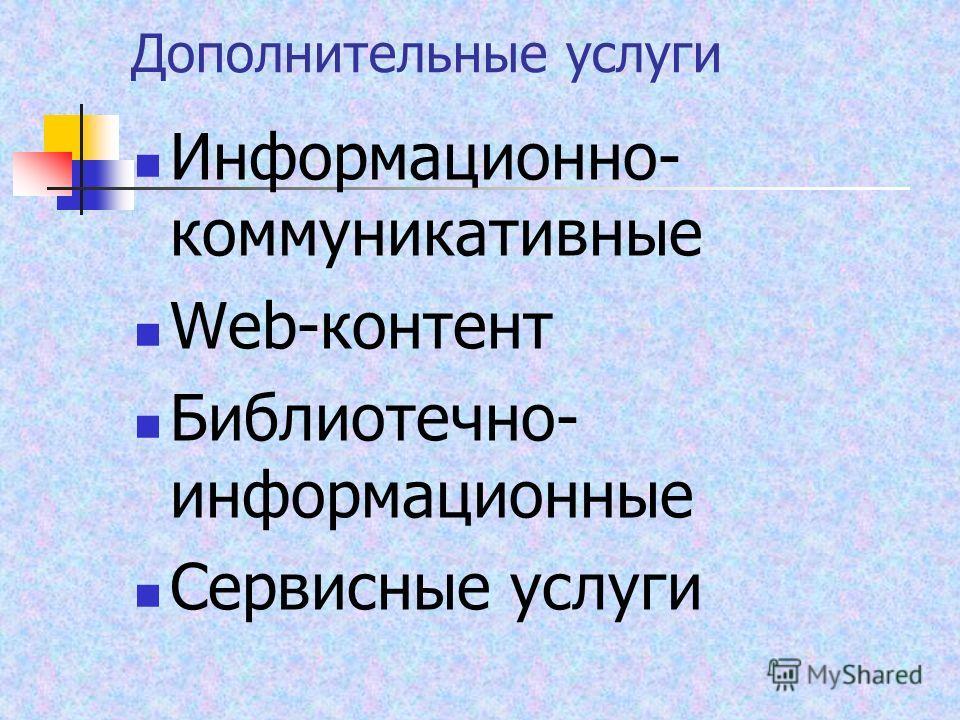 Дополнительные услуги Информационно- коммуникативные Web-контент Библиотечно- информационные Сервисные услуги