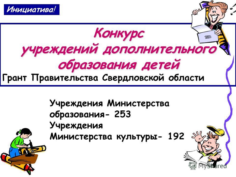 Инициатива! Конкурс учреждений дополнительного образования детей Грант Правительства Свердловской области Учреждения Министерства образования- 253 Учреждения Министерства культуры- 192