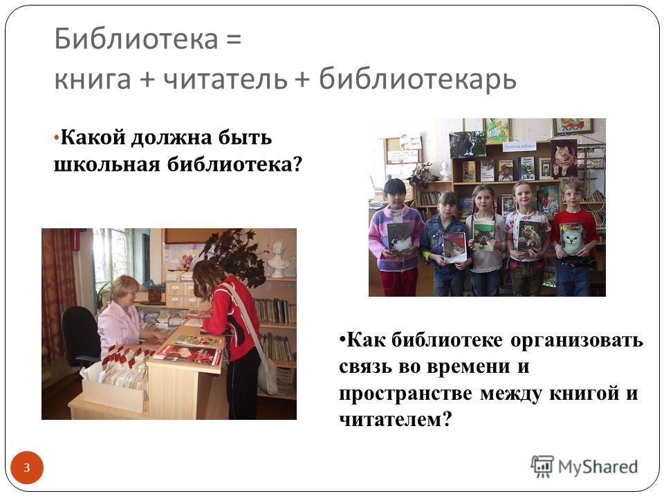 Библиотека = книга + читатель + библиотекарь Какой должна быть школьная библиотека ? Как библиотеке организовать связь во времени и пространстве между книгой и читателем? 3
