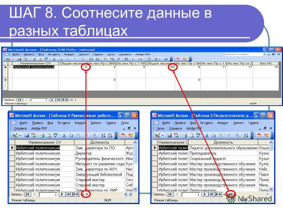 ШАГ 8. Соотнесите данные в разных таблицах