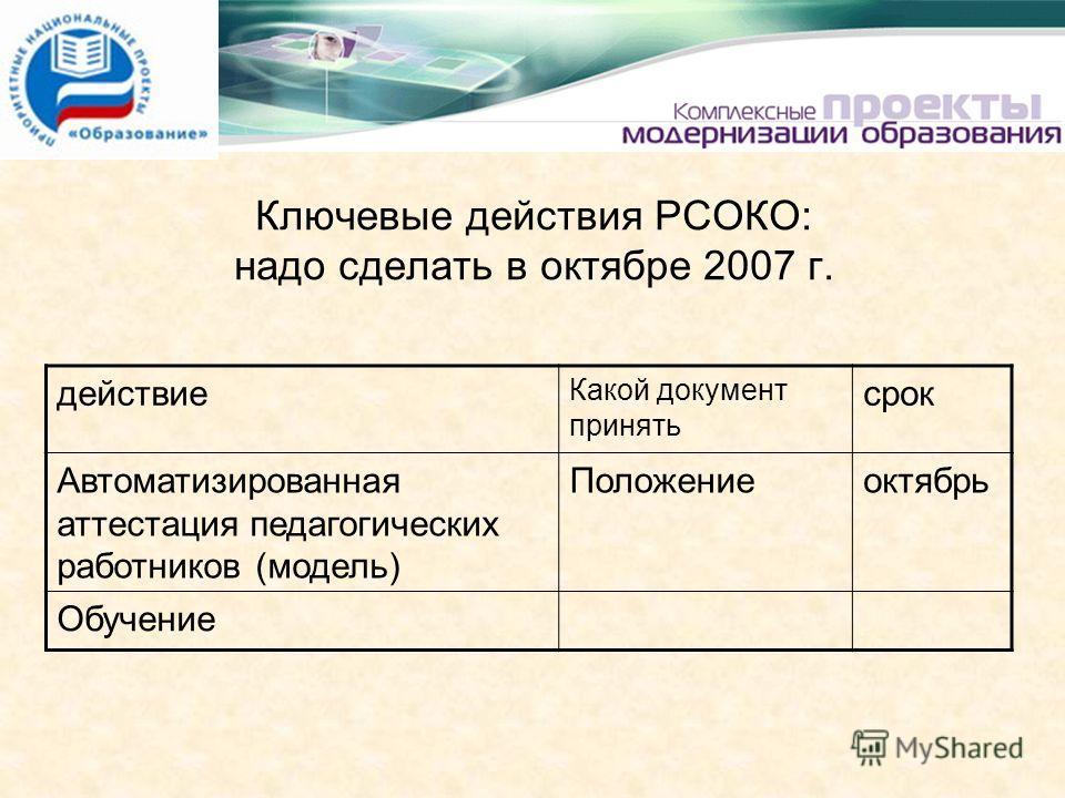 Ключевые действия РСОКО: надо сделать в октябре 2007 г. действие Какой документ принять срок Автоматизированная аттестация педагогических работников (модель) Положениеоктябрь Обучение