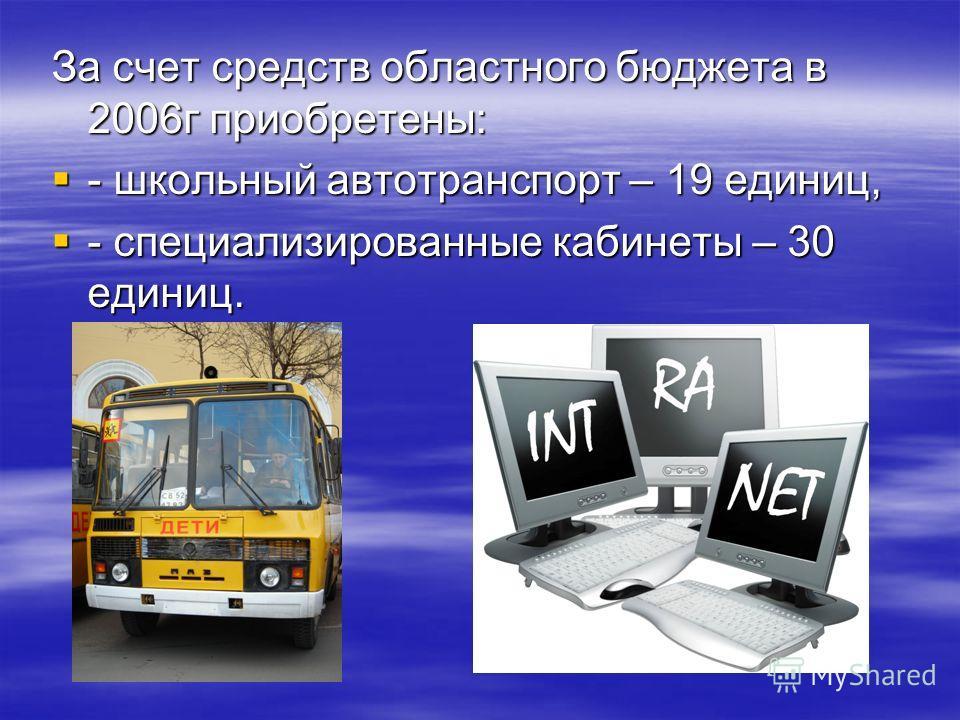 За счет средств областного бюджета в 2006г приобретены: - школьный автотранспорт – 19 единиц, - школьный автотранспорт – 19 единиц, - специализированные кабинеты – 30 единиц. - специализированные кабинеты – 30 единиц.