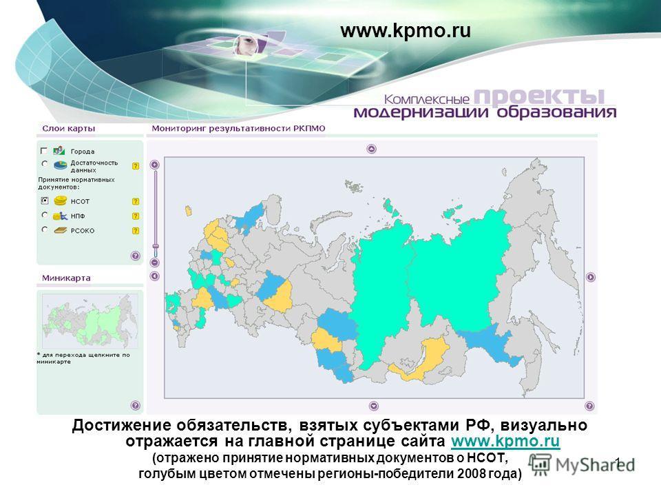 1 Достижение обязательств, взятых субъектами РФ, визуально отражается на главной странице сайта www.kpmo.ruwww.kpmo.ru (отражено принятие нормативных документов о НСОТ, голубым цветом отмечены регионы-победители 2008 года) www.kpmo.ru