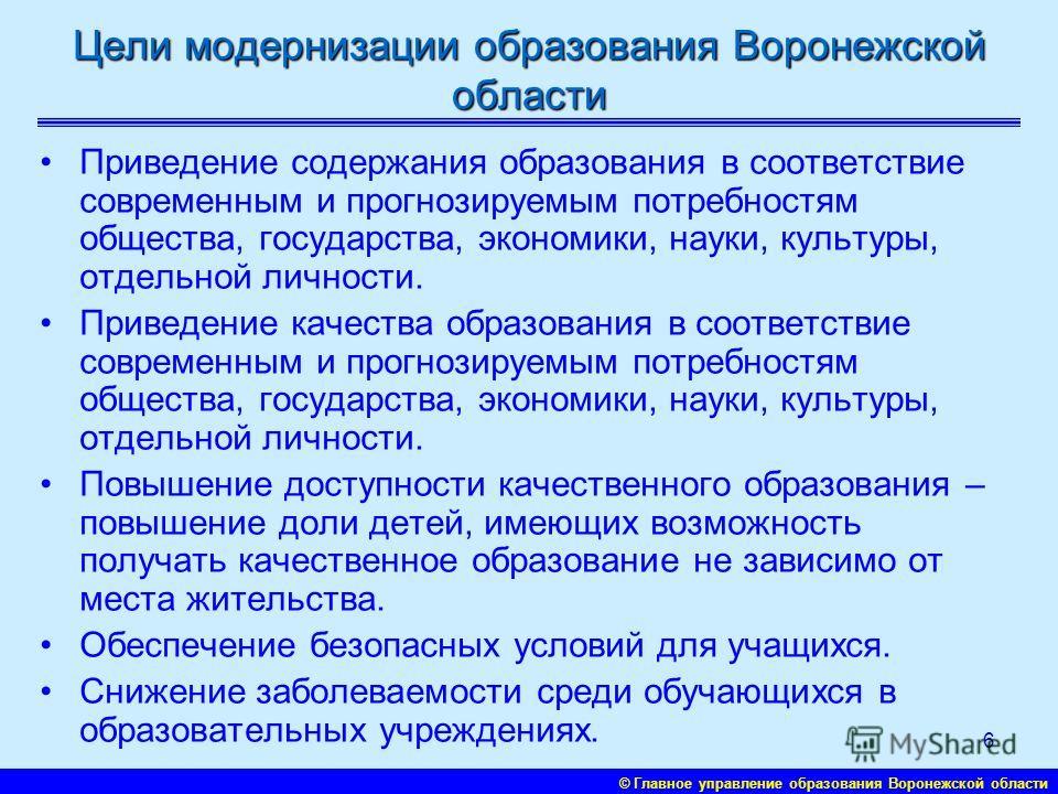 © Главное управление образования Воронежской области 5 Модель системы образования и направления модернизации