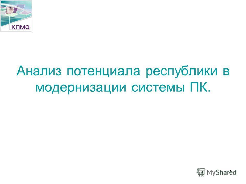 7 Анализ потенциала республики в модернизации системы ПК.