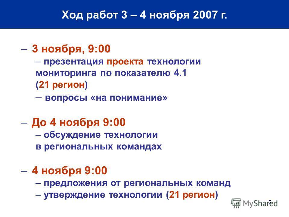 2 Ход работ 3 – 4 ноября 2007 г. –3 ноября, 9:00 – презентация проекта технологии мониторинга по показателю 4.1 (21 регион) – вопросы «на понимание» –До 4 ноября 9:00 – обсуждение технологии в региональных командах –4 ноября 9:00 – предложения от рег