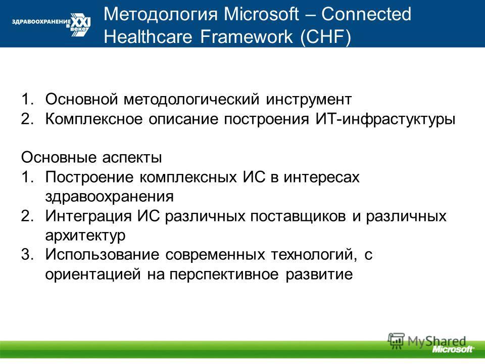 Методология Microsoft – Connected Healthcare Framework (CHF) 1.Основной методологический инструмент 2.Комплексное описание построения ИТ-инфрастуктуры Основные аспекты 1.Построение комплексных ИС в интересах здравоохранения 2.Интеграция ИС различных