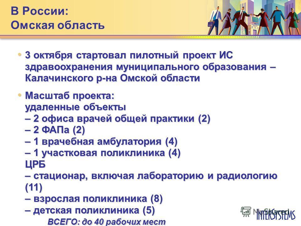 3 октября стартовал пилотный проект ИС здравоохранения муниципального образования – Калачинского р-на Омской области 3 октября стартовал пилотный проект ИС здравоохранения муниципального образования – Калачинского р-на Омской области Масштаб проекта: