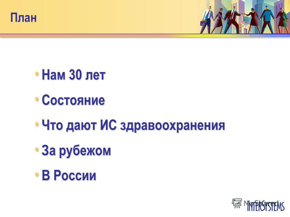 План Нам 30 лет Нам 30 лет Состояние Состояние Что дают ИС здравоохранения Что дают ИС здравоохранения За рубежом За рубежом В России В России