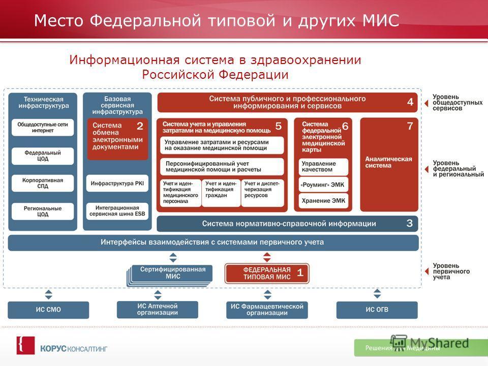 Место Федеральной типовой и других МИС Информационная система в здравоохранении Российской Федерации