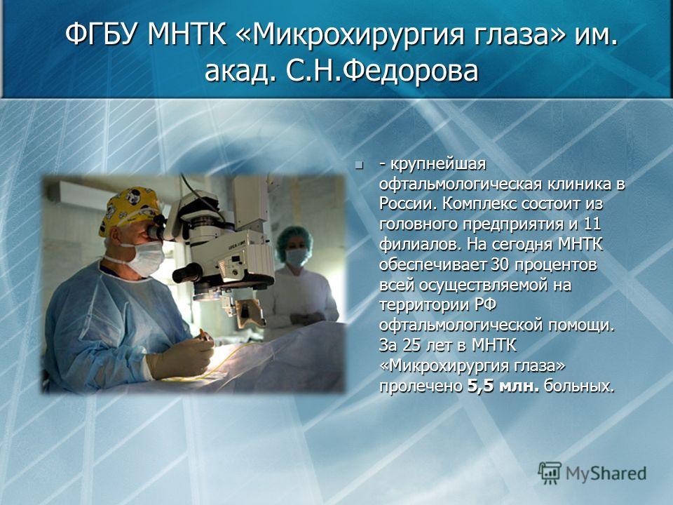 ФГБУ МНТК «Микрохирургия глаза» им. акад. С.Н.Федорова - крупнейшая офтальмологическая клиника в России. Комплекс состоит из головного предприятия и 11 филиалов. На сегодня МНТК обеспечивает 30 процентов всей осуществляемой на территории РФ офтальмол