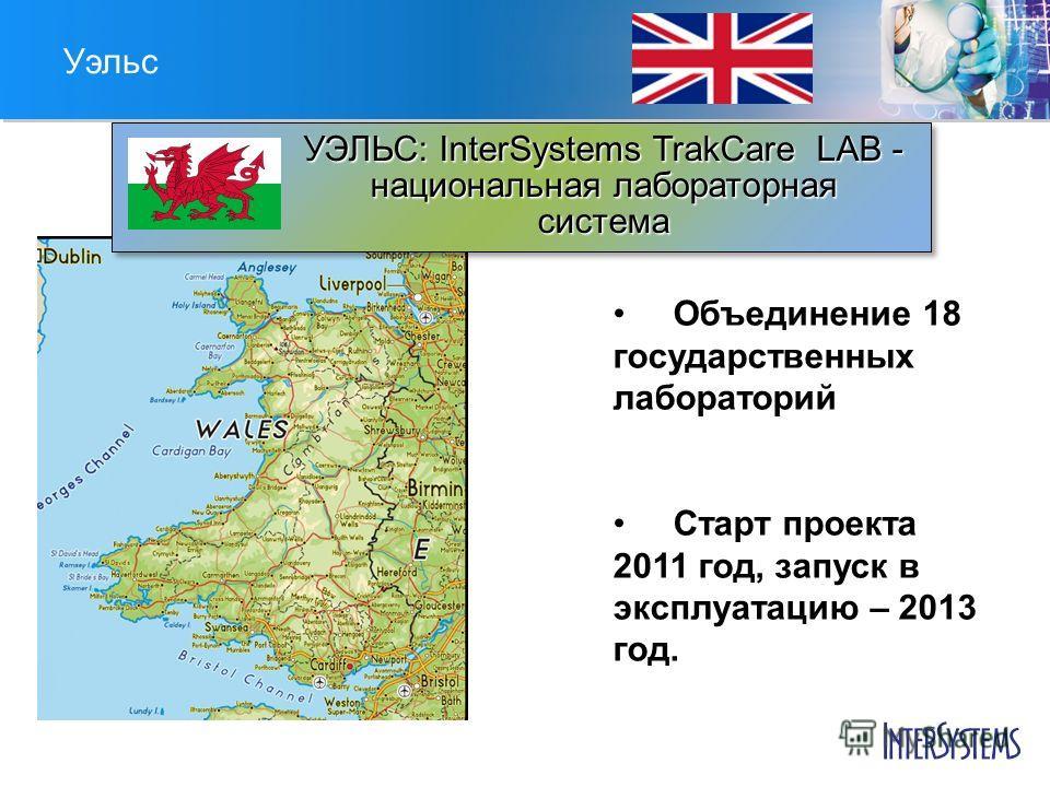 Уэльс УЭЛЬС: InterSystems TrakCare LAB - национальная лабораторная система Объединение 18 государственных лабораторий Старт проекта 2011 год, запуск в эксплуатацию – 2013 год.
