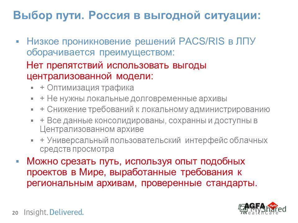 20 Выбор пути. Россия в выгодной ситуации: Низкое проникновение решений PACS/RIS в ЛПУ оборачивается преимуществом: Нет препятствий использовать выгоды централизованной модели: + Оптимизация трафика + Не нужны локальные долговременные архивы + Снижен