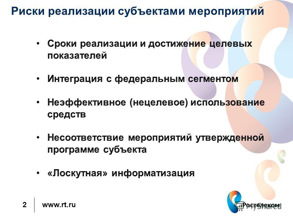www.rt.ru 2 Риски реализации субъектами мероприятий