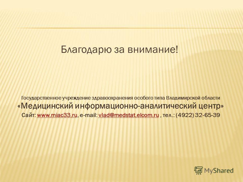 Благодарю за внимание! Государственное учреждение здравоохранения особого типа Владимирской области «Медицинский информационно-аналитический центр» Сайт: www.miac33.ru, e-mail: vlad@medstat.elcom.ru, тел.: (4922) 32-65-39www.miac33.ruvlad@medstat.elc