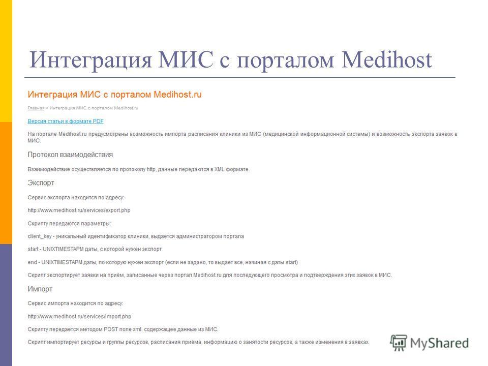 Интеграция МИС с порталом Medihost