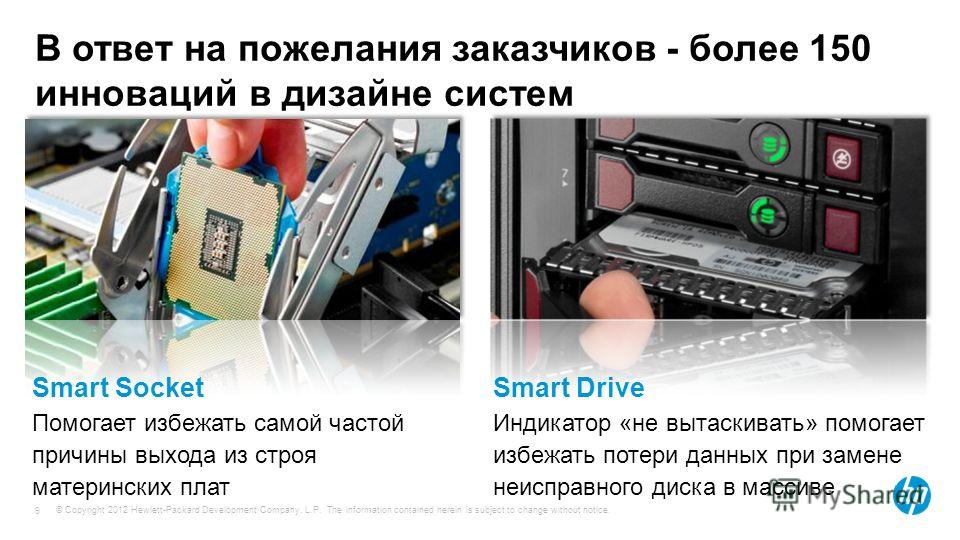 © Copyright 2012 Hewlett-Packard Development Company, L.P. The information contained herein is subject to change without notice. 9 Smart Socket Помогает избежать самой частой причины выхода из строя материнских плат Smart Drive Индикатор «не вытаскив
