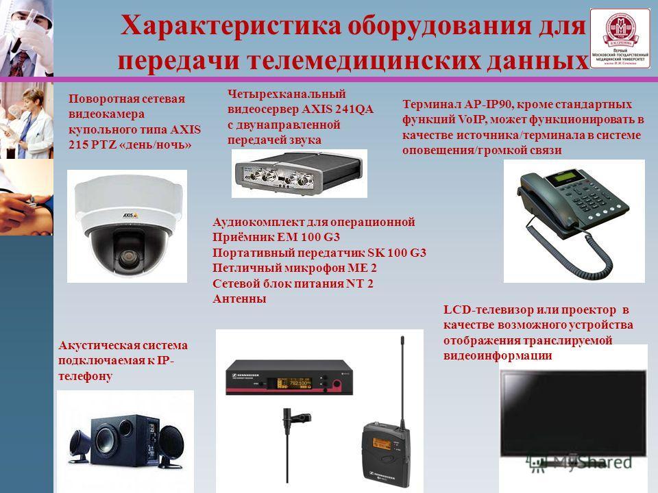 Характеристика оборудования для передачи телемедицинских данных Четырехканальный видеосервер AXIS 241QA с двунаправленной передачей звука Терминал AP-IP90, кроме стандартных функций VoIP, может функционировать в качестве источника/терминала в системе