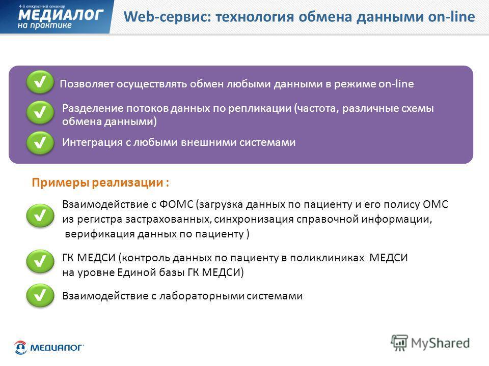 Web-сервис: технология обмена данными on-line Примеры реализации : Позволяет осуществлять обмен любыми данными в режиме on-line Интеграция с любыми внешними системами ГК МЕДСИ (контроль данных по пациенту в поликлиниках МЕДСИ на уровне Единой базы ГК