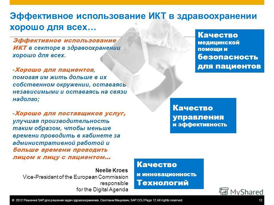 ©2012 Решения SAP для решения задач здравоохранения, Светлана Мацкевич, SAP CIS,/ Page 12 All rights reserved.12 Эффективное использование ИКТ в здравоохранении хорошо для всех… Эффективное использование ИКТ в секторе в здравоохранении хорошо для все