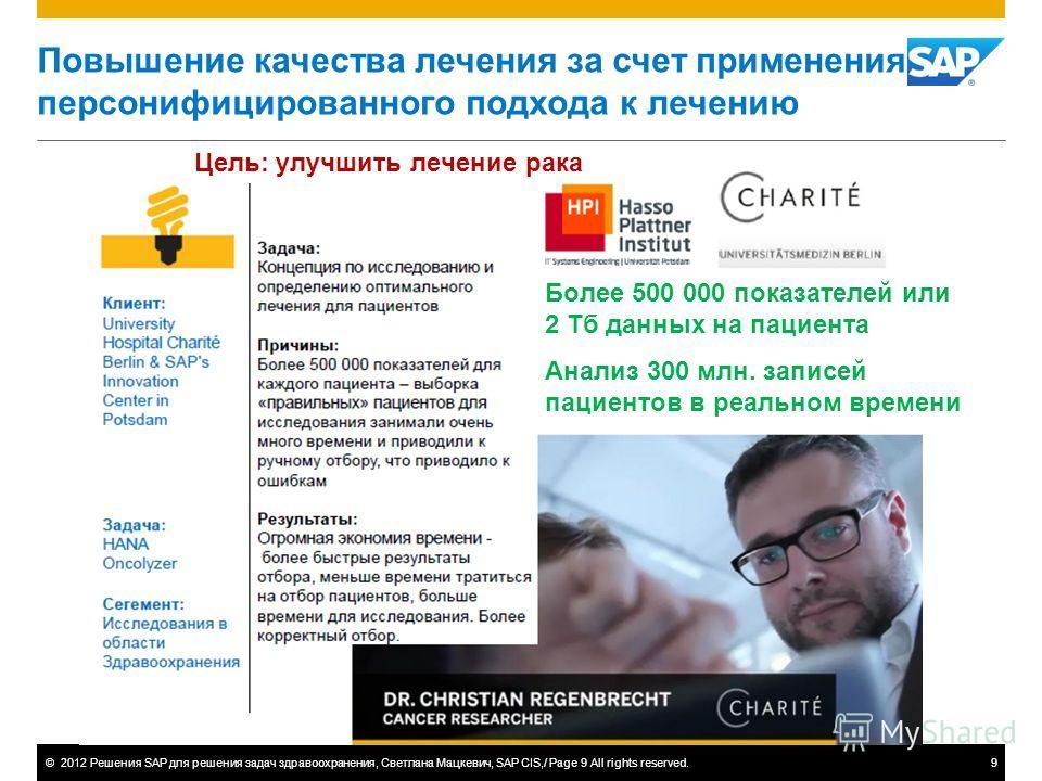 ©2012 Решения SAP для решения задач здравоохранения, Светлана Мацкевич, SAP CIS,/ Page 9 All rights reserved.9 Повышение качества лечения за счет применения персонифицированного подхода к лечению Более 500 000 показателей или 2 Тб данных на пациента