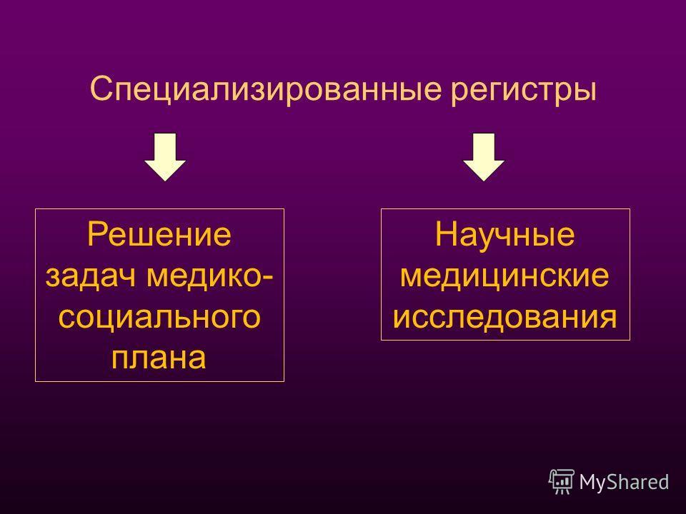 Специализированные регистры Решение задач медико- социального плана Научные медицинские исследования